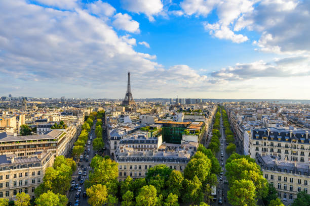 beautiful view of paris from the roof of the triumphal arch. champs elysees and the eiffel tower - paris france stock photos and pictures