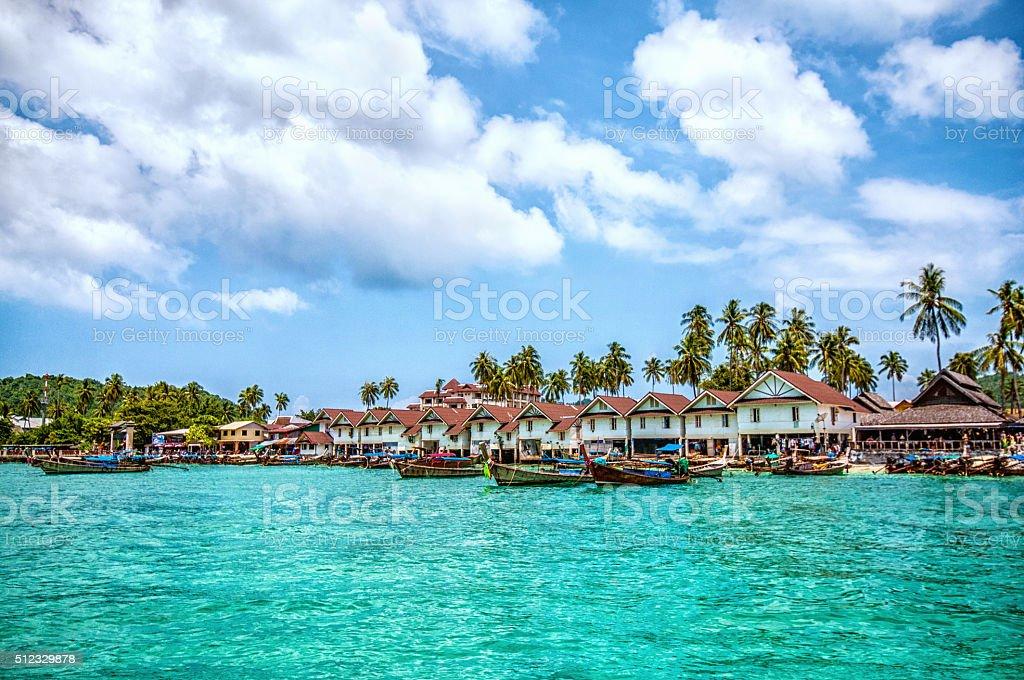 Beautiful view of Phi-phi islands, Phuket, Thailand stock photo