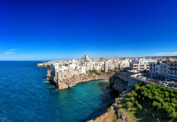 Beautiful view of Polignano a mare, Apulia city on mediterranean sea, Italy - Stock image stock photo