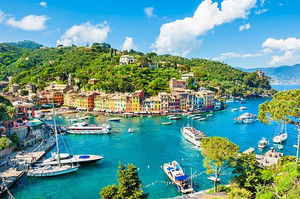 美しいの眺めポルトフィノリグーリア(イタリア) ストックフォト