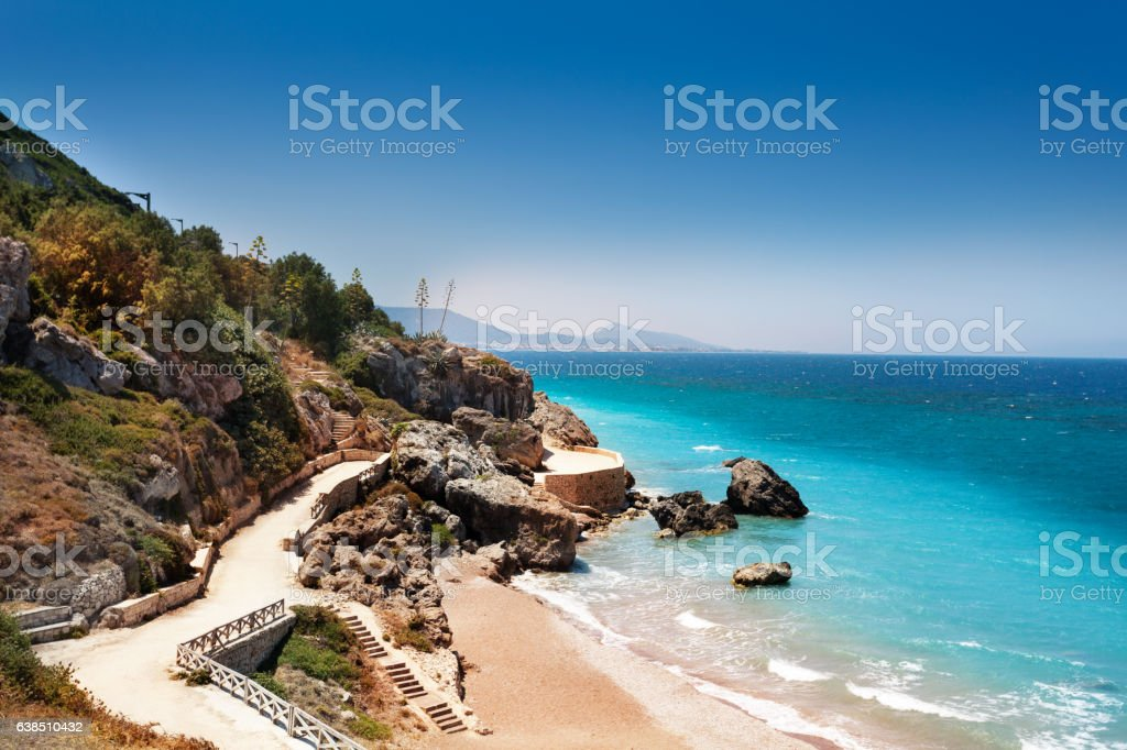 Beautiful view of Rhodes sandy beaches, Greece - foto de stock