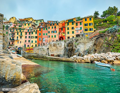istock Beautiful view of Riomaggiore in late afternoon light. 828820334