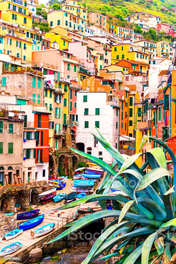 Beautiful view of Riomaggiore stock photo