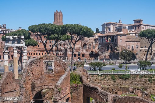 Beautiful view of Rome in Italy. The ancient historical ruins, famous monuments, alley's and streets of the city. Architectural landmark of western culture. Perfect traveling destination. Home of unique architectural treasures such as the Colosseum, Piazza di Spagna and the Spanish Steps, Roman Forum, St. Peter's Basilica and the Vatican City, Pantheon, Piazza Navona, Arch of Constantine, Trevi Fountain, Santa Maria Maggiore, Palatine Hill, Villa Borghese Galley and Gardens, Castel Sant'Angelo, Baths of Caracalla, Basilica of St. John Lateran, The Catacombs and Via Appia Antica.