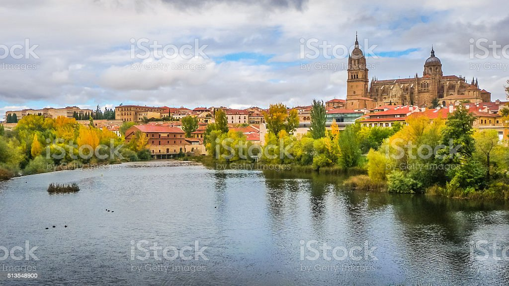 Beautiful view of Salamanca with Rio Tormes and Cathedral, Spain stock photo