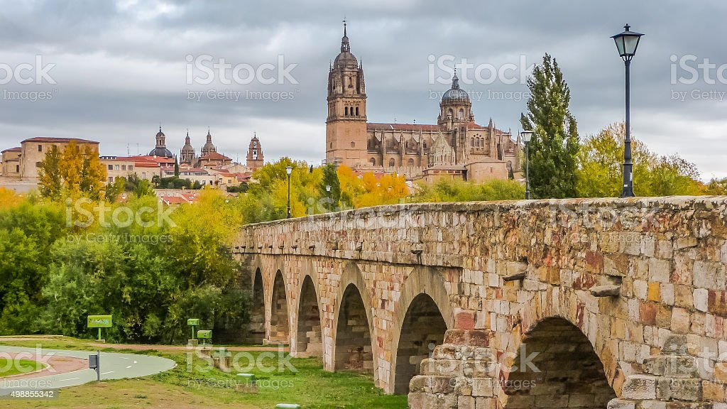 Beautiful view of Salamanca with Roman bridge and Cathedral, Spain stock photo