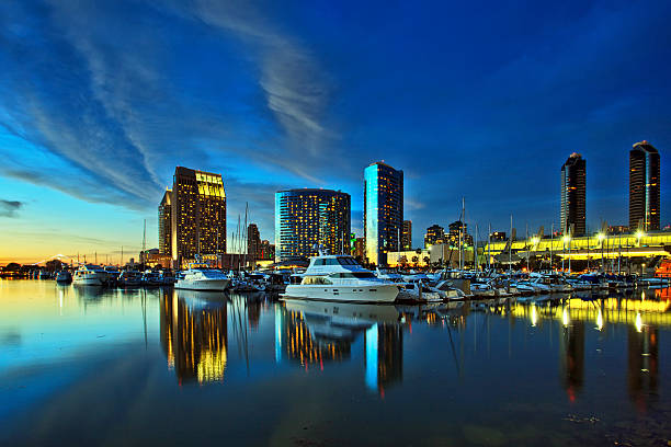 Beautiful View Of San Diego Skyline With Harbor At Sunset Stock Photo