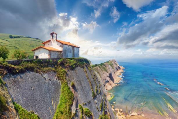 beautiful view of San Telmo chapel in Zumaia in Gipuzkoa stock photo