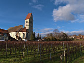 Beautiful view of small village Hagnau am Bodensee, Lake Constance, Germany, with historic catholic church St. Johann Baptist in front of bare vineyard in winter season on sunny day with blue sky.