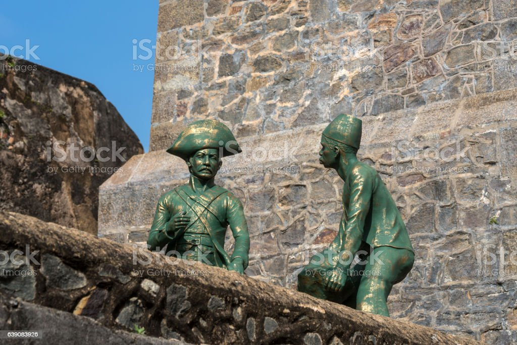 Beautiful view of statues ancient Dutch Galle Fort stock photo