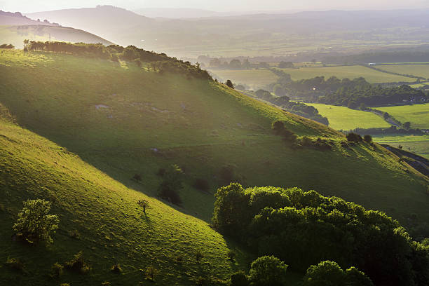 Beautiful view of sunny hills in South Downs stock photo