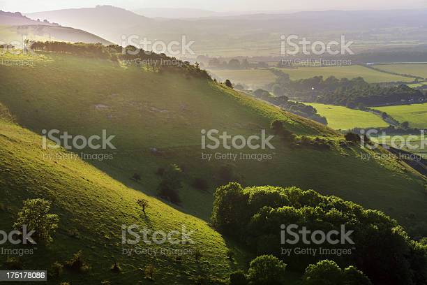 view from the south downs way footpath, sussex, england uk