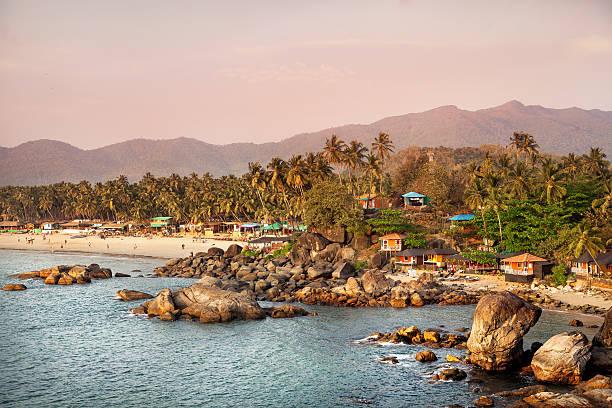 Beautiful view of sunset beach in Goa stock photo