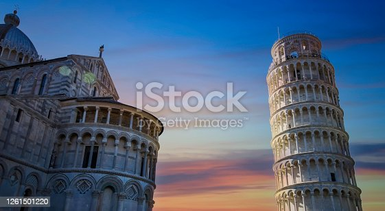 Beautiful view of sunset sky scene with Pisa Cathedral (Duomo di Pisa) with Leaning Tower  (Torre di Pisa) Tuscany, Italy.The Leaning Tower of Pisa is one of the main landmark