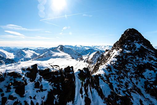 Beautiful view of the Alps mountains in sunny winter day, Austria, Stubai, Stubaier Gletscher resort