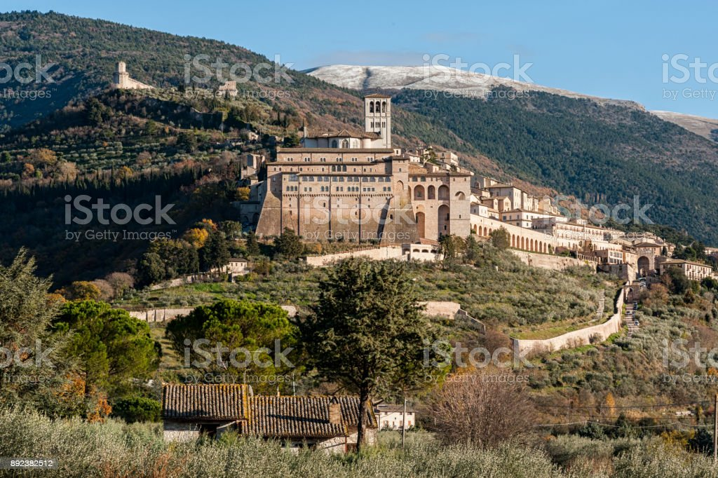 Beautiful view of the ancient and impressive medieval town of Assisi, religious center of Umbria - Italy stock photo