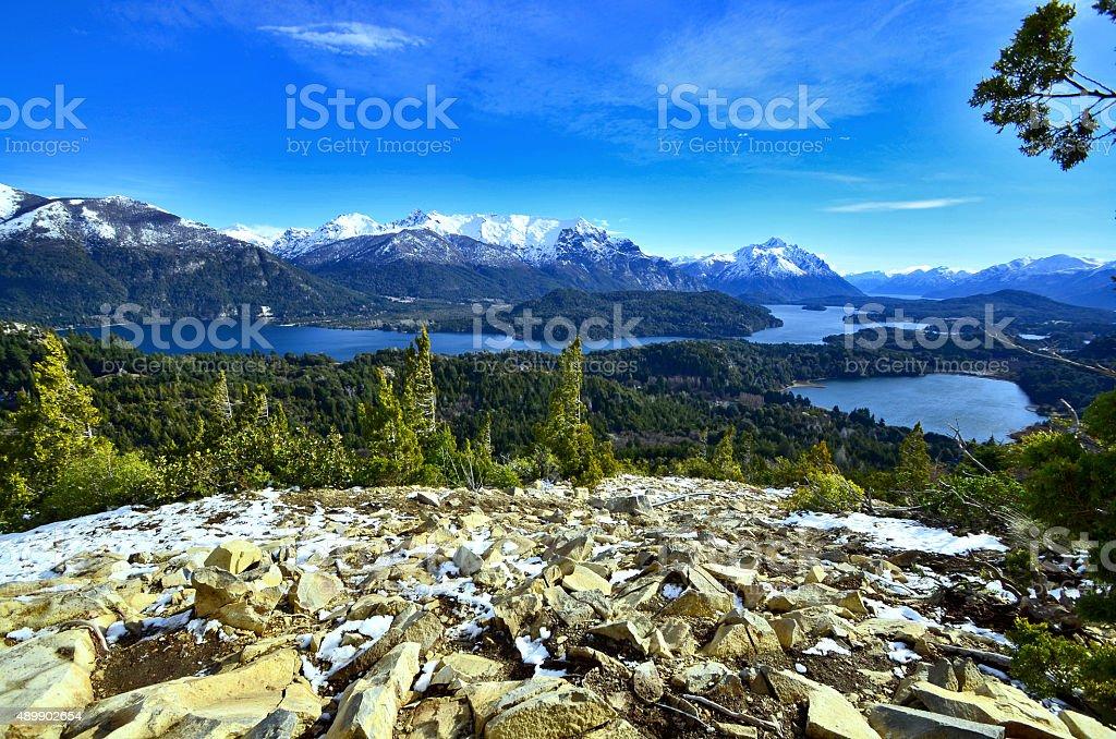 Beautiful view of the Andes and Nahuel Huapi lake stock photo