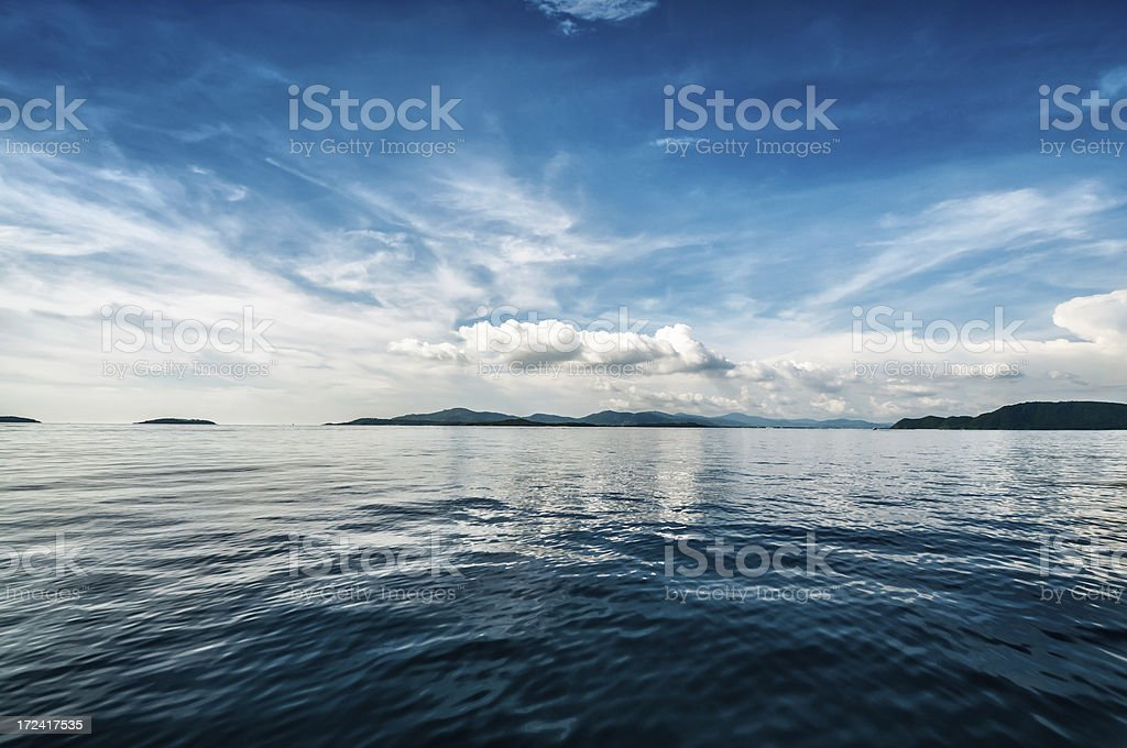 Beautiful view of the deep blue ocean stock photo