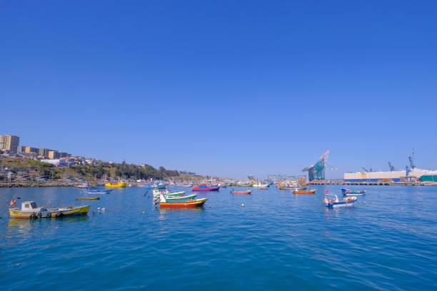 Beautiful view of the harbor port of San Antonio and the City, Valparaiso, Chile stock photo
