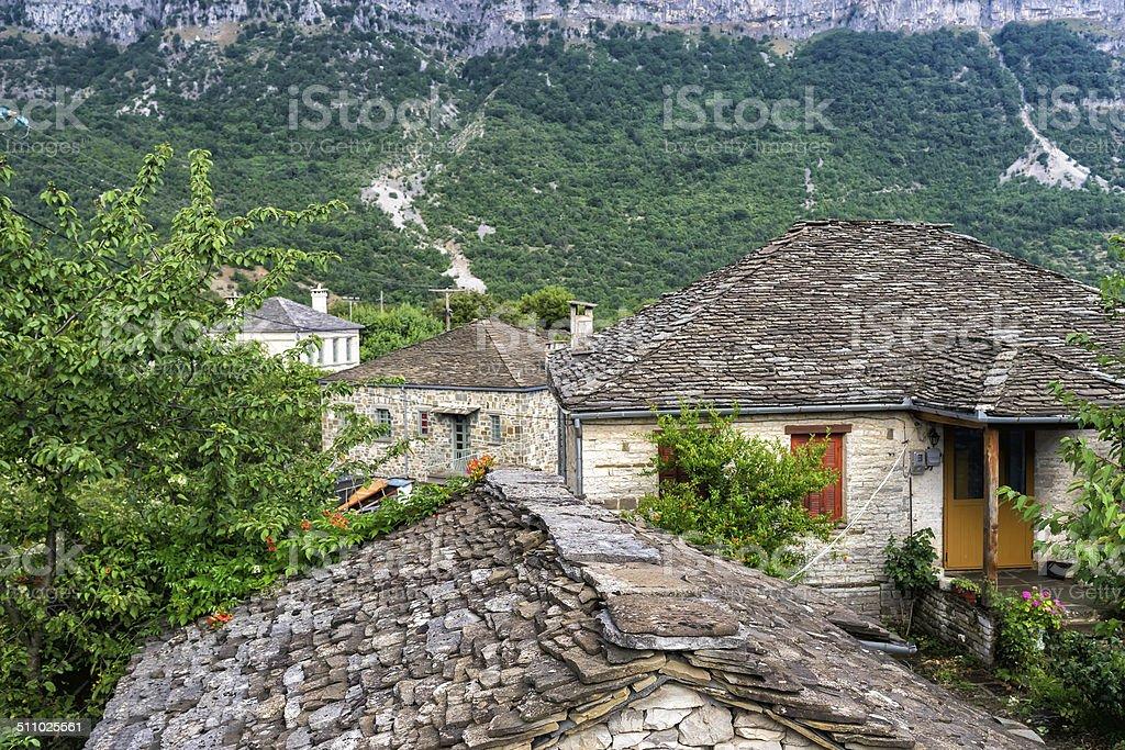 Beautiful view of the historic town in Zagori area stock photo