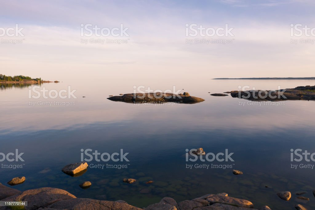 Beautiful view of the island in the Baltic Sea. Summer evening. Calm
