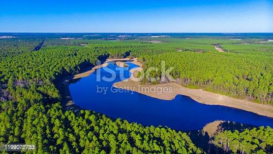 Beautiful view of the lake near the bamahenge, Alabama USA