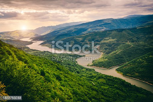 istock Beautiful view of the meandering river 1322753233