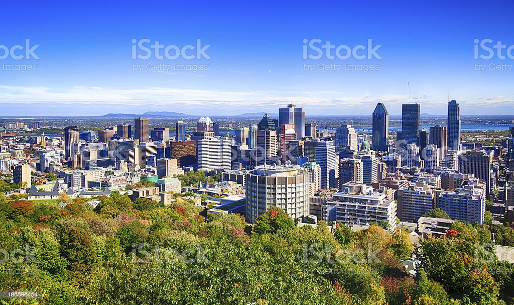 Beautiful view of the Montreal cityscape from Mount Royal stock photo