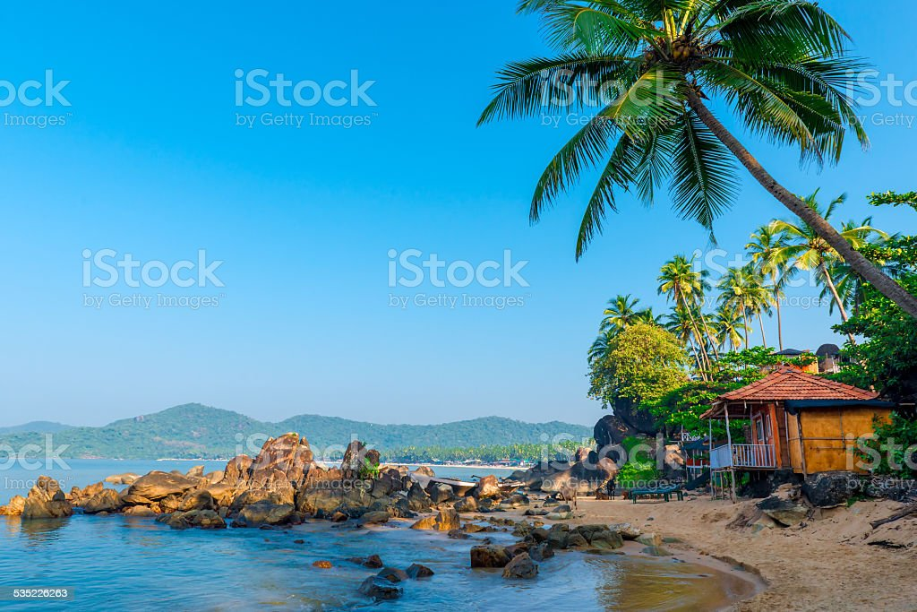 beautiful view of the morning beach Goa stock photo