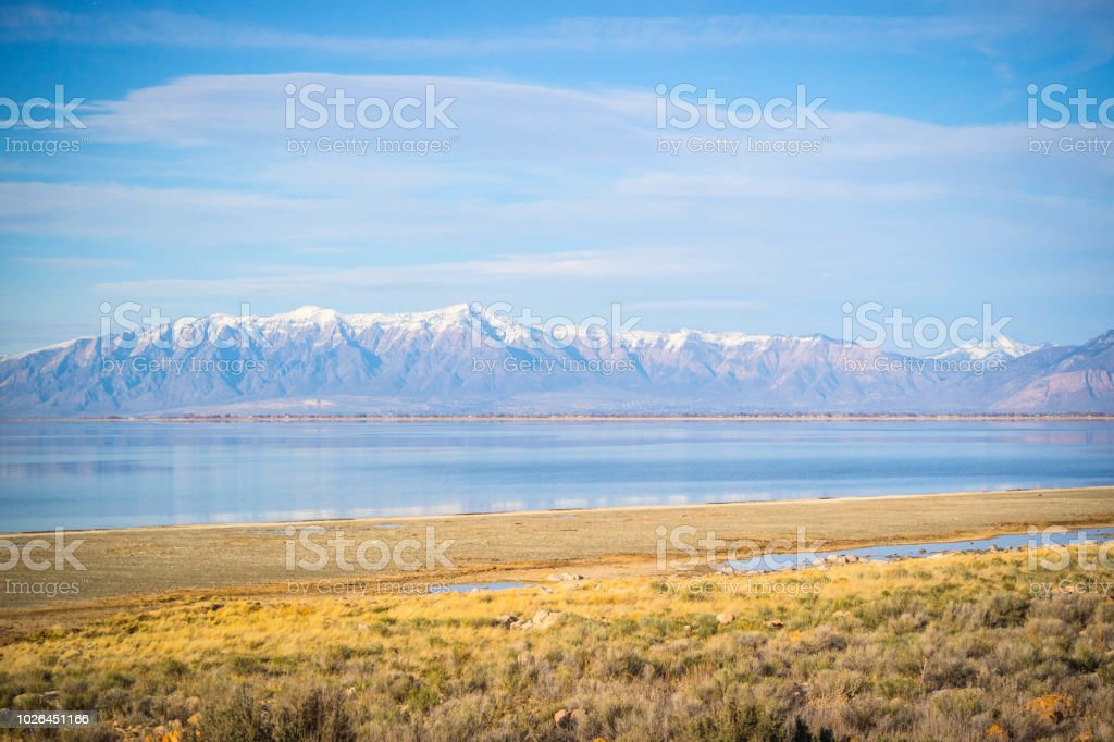 A beautiful view of the mountain landscape in Antelope Island State Park, Utah stock photo