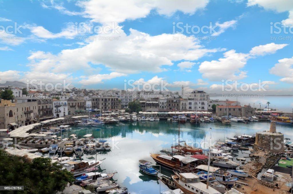 Beautiful view of the new port of Kyrenia (Girne), North Cyprus zbiór zdjęć royalty-free
