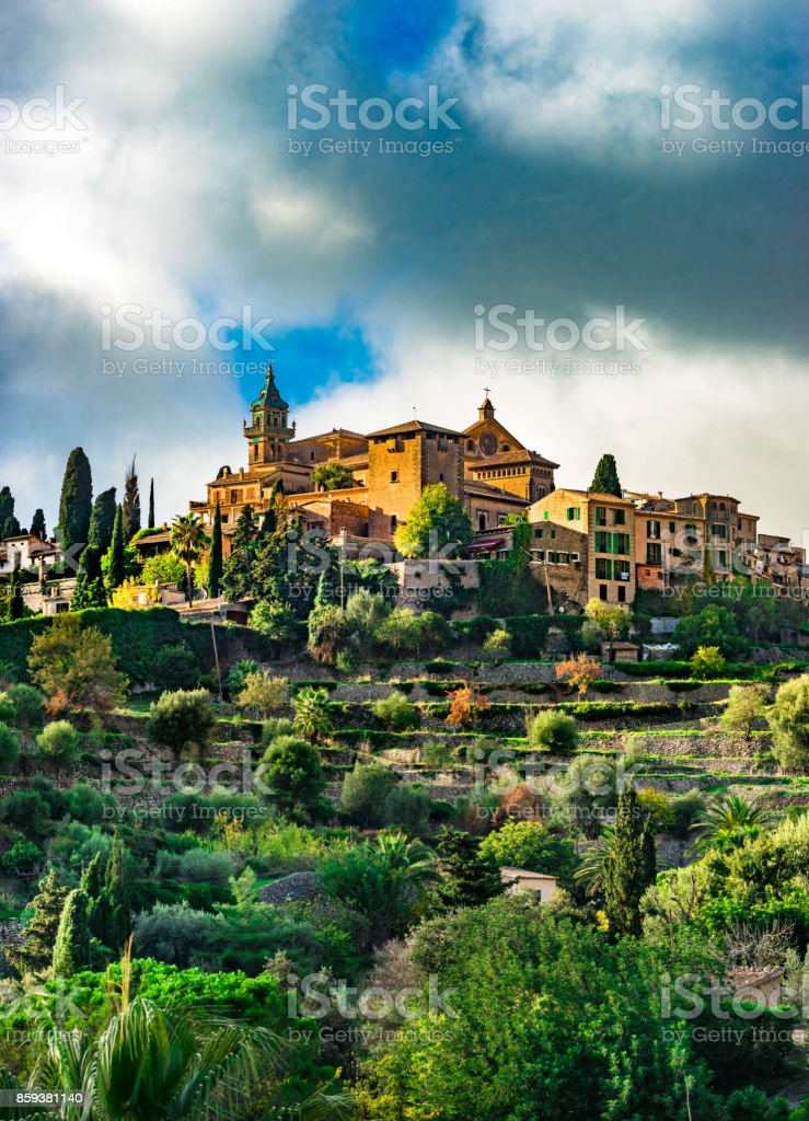 Beautiful view of the old village Valldemossa on Majorca island, Spain stock photo