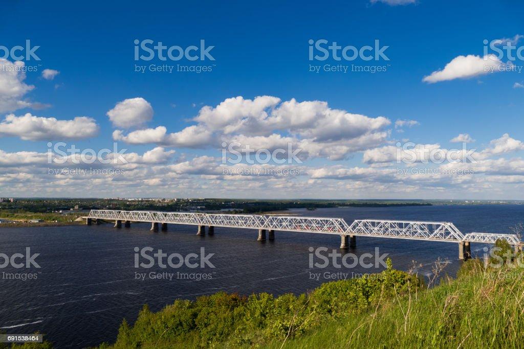 beautiful view of the railway bridge across the Volga river stock photo