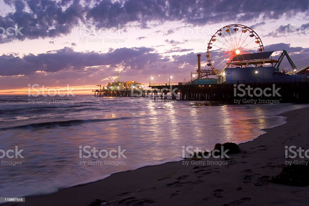 A beautiful view of the Santa Monica Pier at sunset stock photo