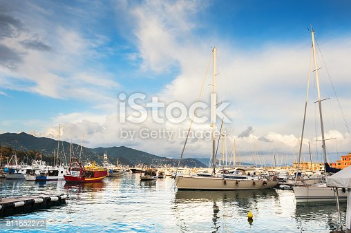 istock Beautiful view of the sea coast with yachts 811552272