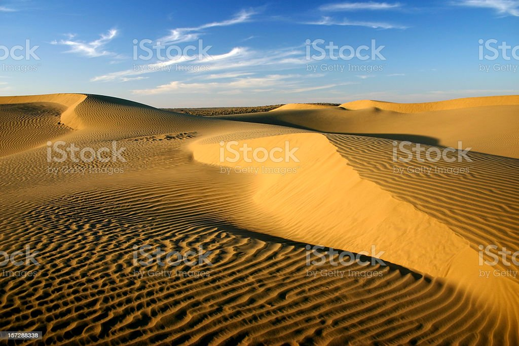 Beautiful view of the sky and sand dunes stock photo