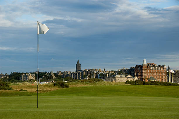 A beautiful view of the St Andrews Golf course stock photo