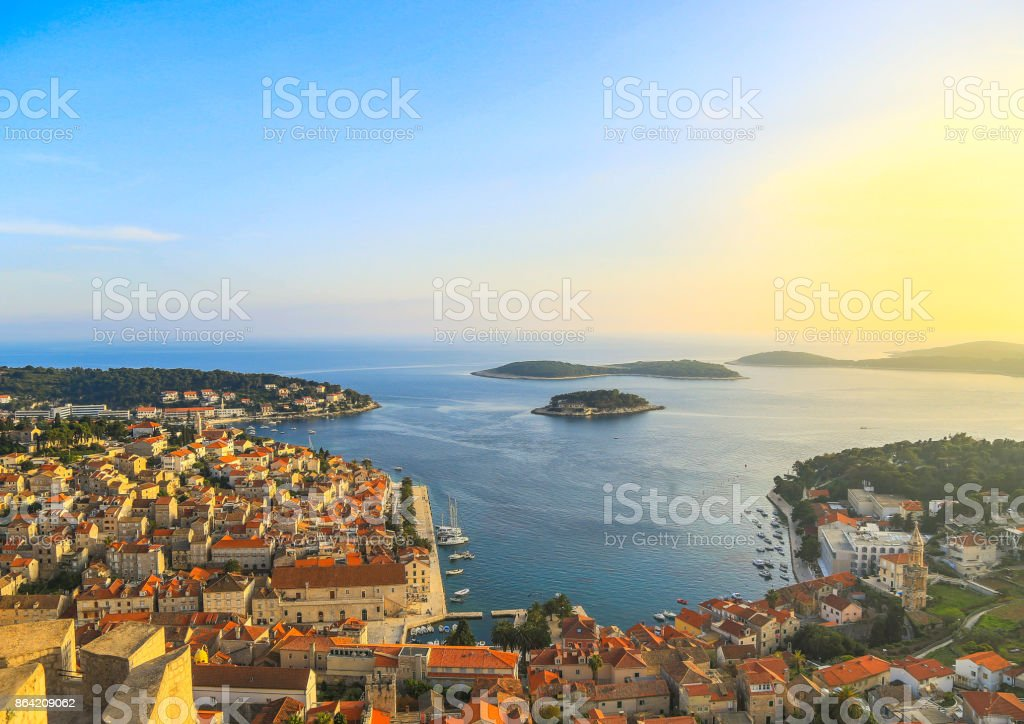 Beautiful view of the town of Hvar on the island of Hvar in Croatia stock photo