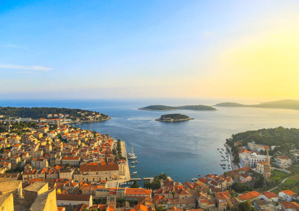 Beautiful view of the town of Hvar on the island of Hvar in Croatia the view from the fortress of the town Hvar croatian culture stock pictures, royalty-free photos & images