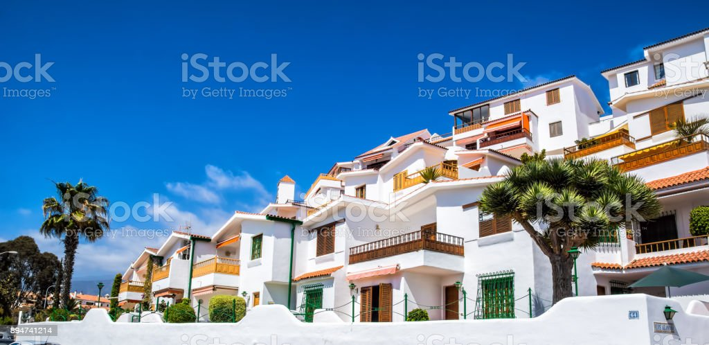 Beautiful view of the traditional architecture of Los Cristianos, Costa Adeje and Las Americas, Tenerife, Canary Islands, Spain stock photo