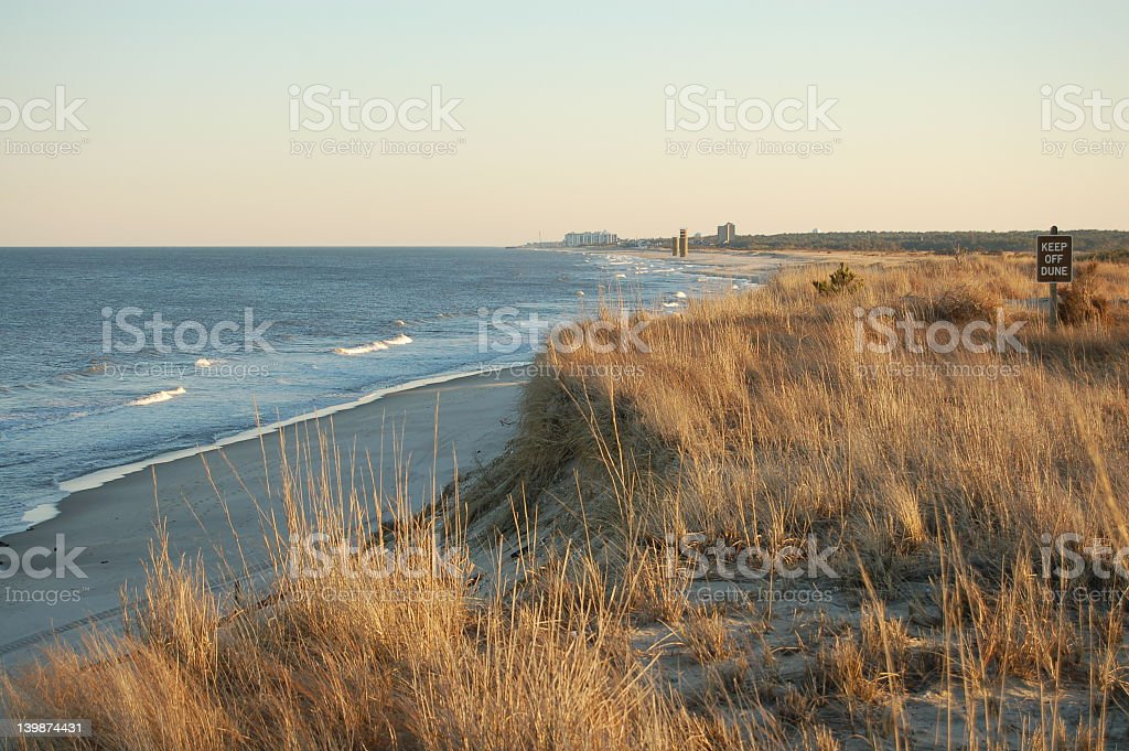 Beautiful view of the water at Delaware beach stock photo