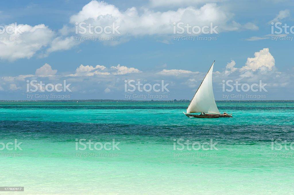 A beautiful view of the water in Tanzania, Zanzibar stock photo