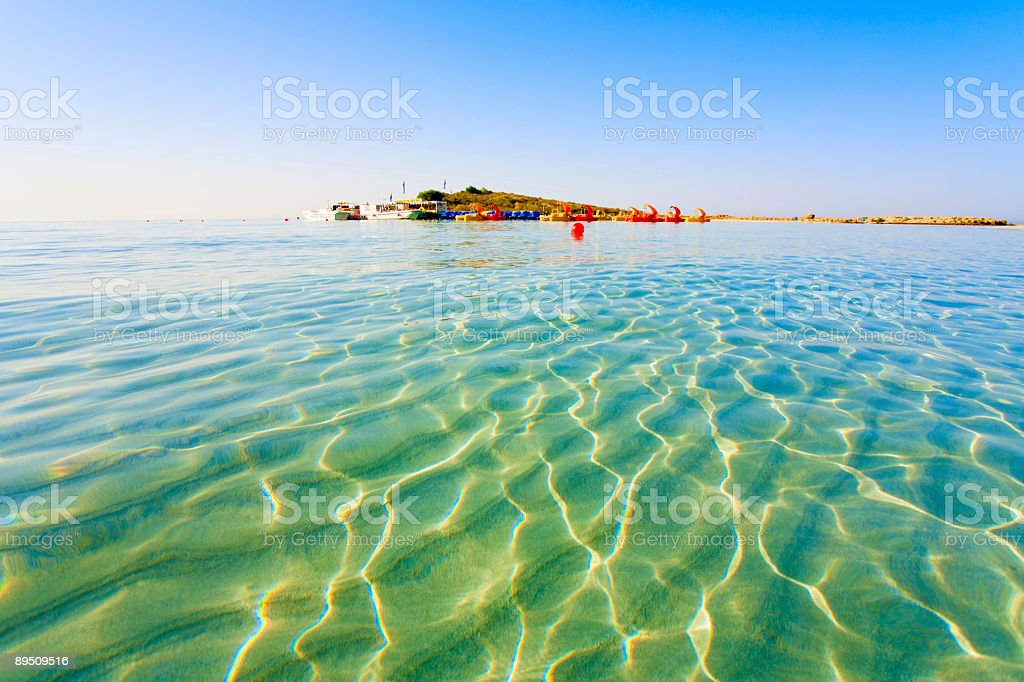 A beautiful view of the water of Nissi Bay stock photo