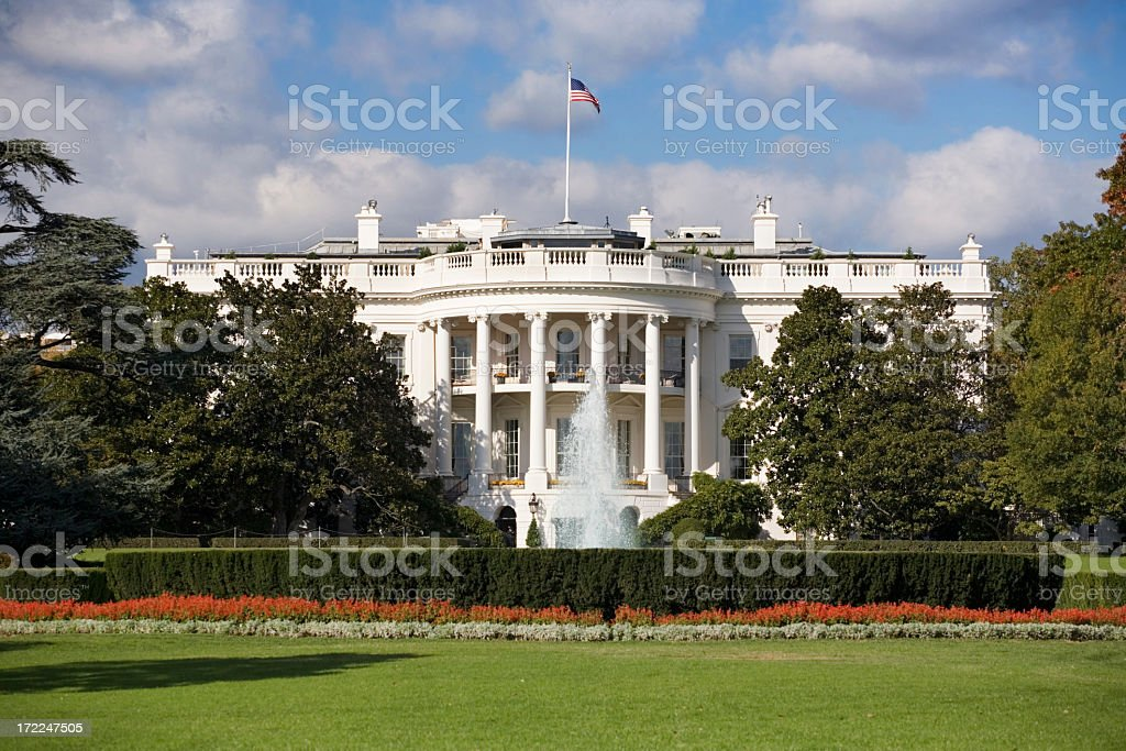 A beautiful view of The White House in Washington DC royalty-free stock photo