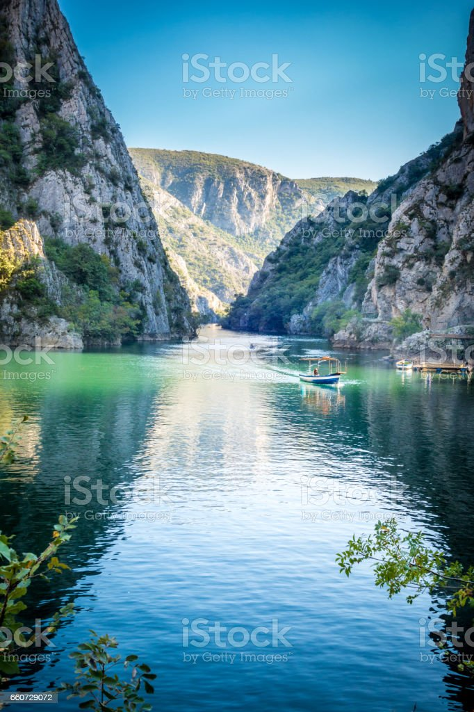 Beautiful view of tourist attraction, lake at Matka Canyon in the Skopje surroundings, Macedonia. stock photo