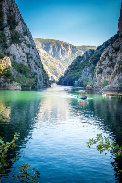 Beautiful view of tourist attraction, lake at Matka Canyon in the Skopje surroundings, Macedonia. stock photo
