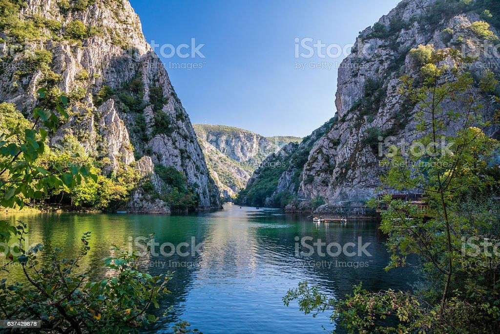 Beautiful view of tourist attraction, lake at Matka Canyon. stock photo