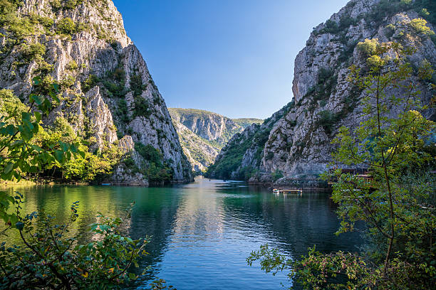 beautiful view of tourist attraction, lake at matka canyon. - schlucht stock-fotos und bilder