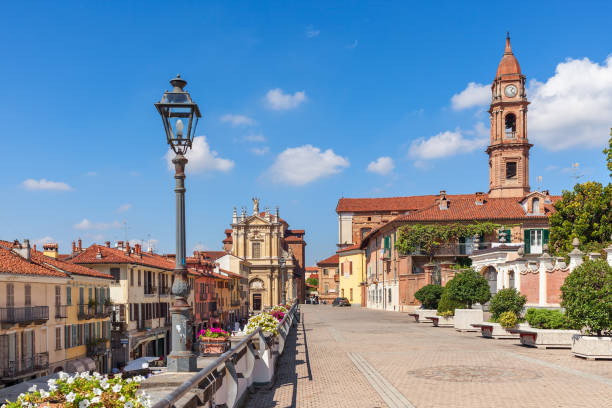 Beautiful view of town of Bra in Italy. stock photo