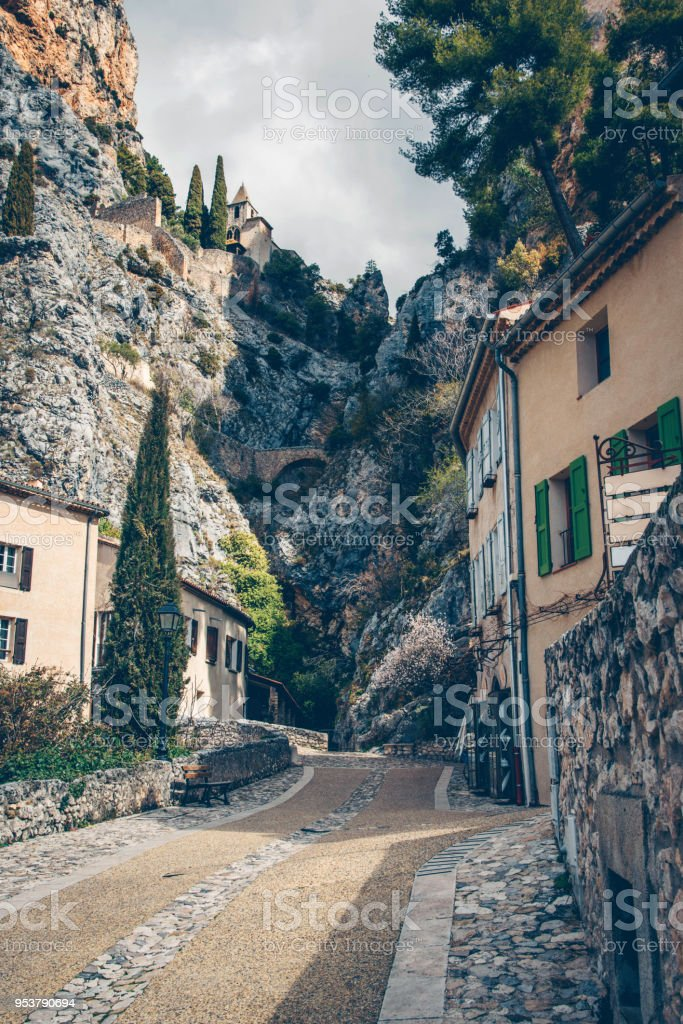 Beautiful view of village Moustiers-Sainte-Marie in France stock photo